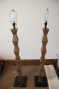 Painted lamps before and after